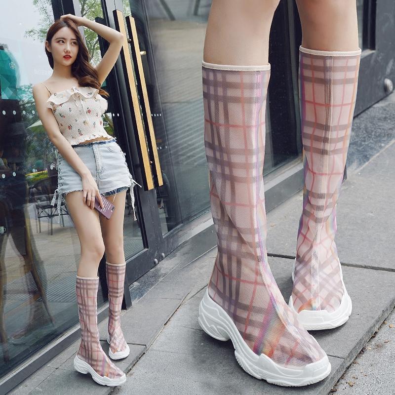 夏天靴子女长靴欧美新款2018时尚高筒女靴网纱性感网红街拍凉靴