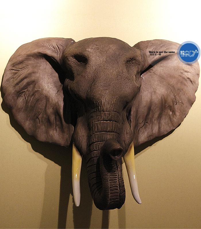 出口欧美订DWK公司仿真动物非洲大象头壁挂别墅装饰品家居挂件