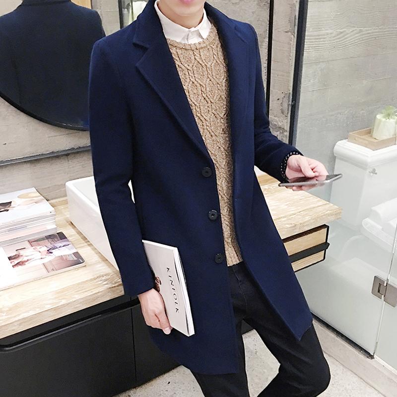 男士修身英倫青年呢大衣