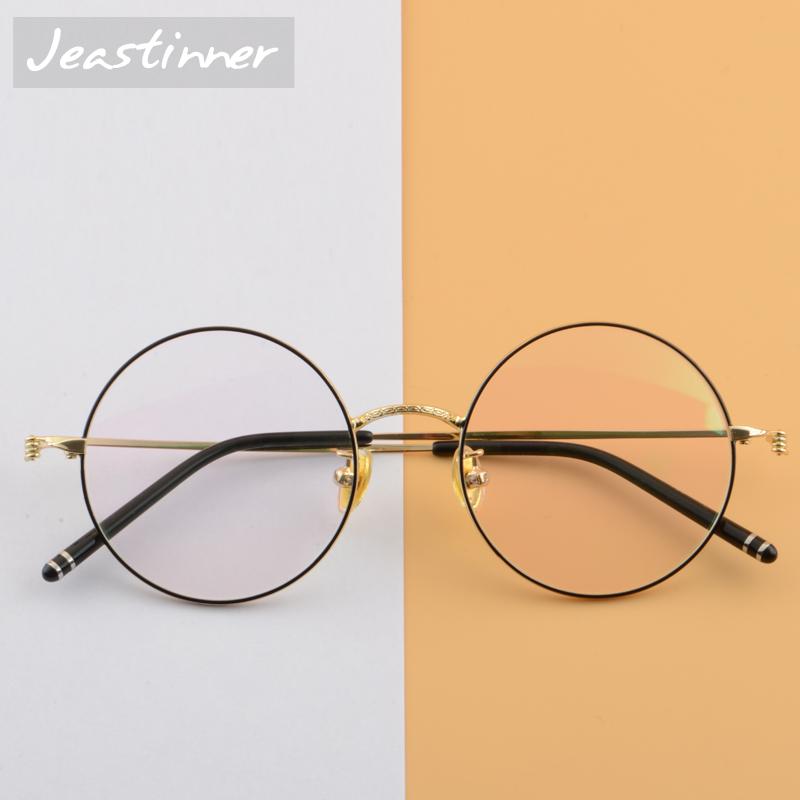复古圆框眼镜女近视眼镜架超轻记忆金属配平光抗蓝光护目镜大框男