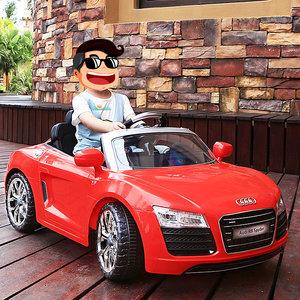 群兴儿童电动车奥迪四轮童车可坐人宝宝小孩带遥控玩具汽车R8