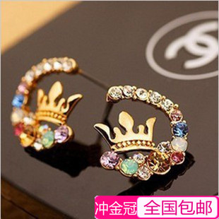 Crown diamond earrings diamond earrings full of Japanese and Korean version of a small jewelry female fashion jewelry Korea exaggerated influx of people