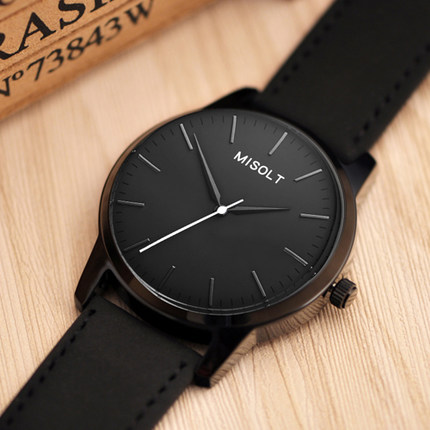 Men Simple Casual Quartz Watch Black