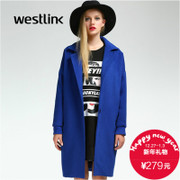 Westlink/West New dropped shoulders and back printing 2015 winter women's long wool coat
