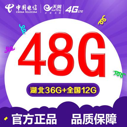 湖北電信4G上網卡48G 武漢96G流量包年卡全國漫遊12G 8G手機卡