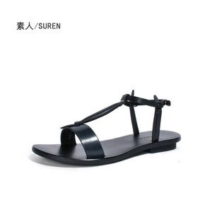 素人设计师原创 金属色平底女凉鞋 手工真皮 16XWF008