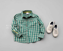 Package mail Boy handsome green spell checked shirt long sleeve shirt