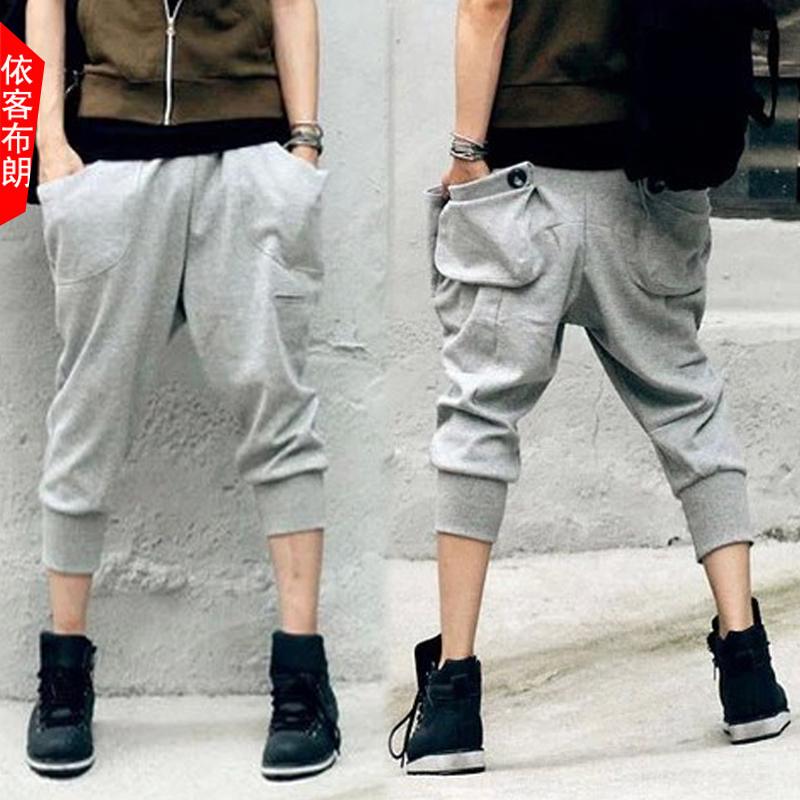 EK уличная мода летняя обрезанные джинсы шорты мужчин добавить жира тонкий хип-хоп XL Мужские брюки жир гарем брюки