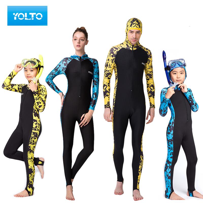 兒童男女胸墊帽子潛水服長袖遊泳衣全身連體浮潛服水母衣防曬服