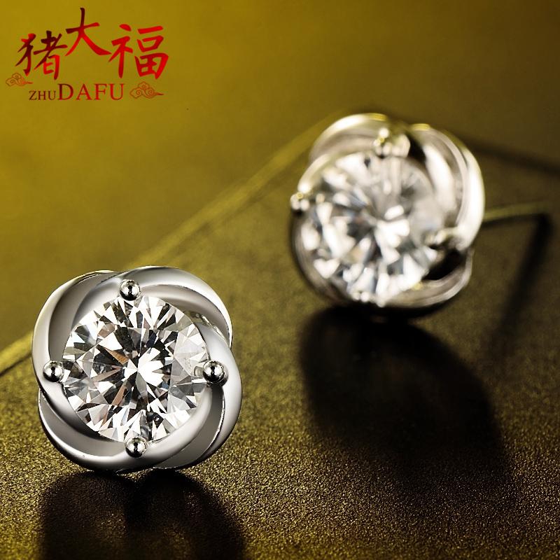 豬大福S925純銀耳釘女四葉草耳環韓國氣質簡約 防過敏耳飾飾品