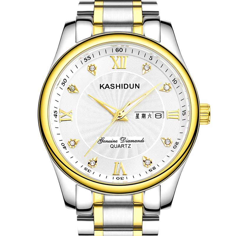 卡詩頓正品雙日曆石英表商務 男士手表防水精鋼男表手表