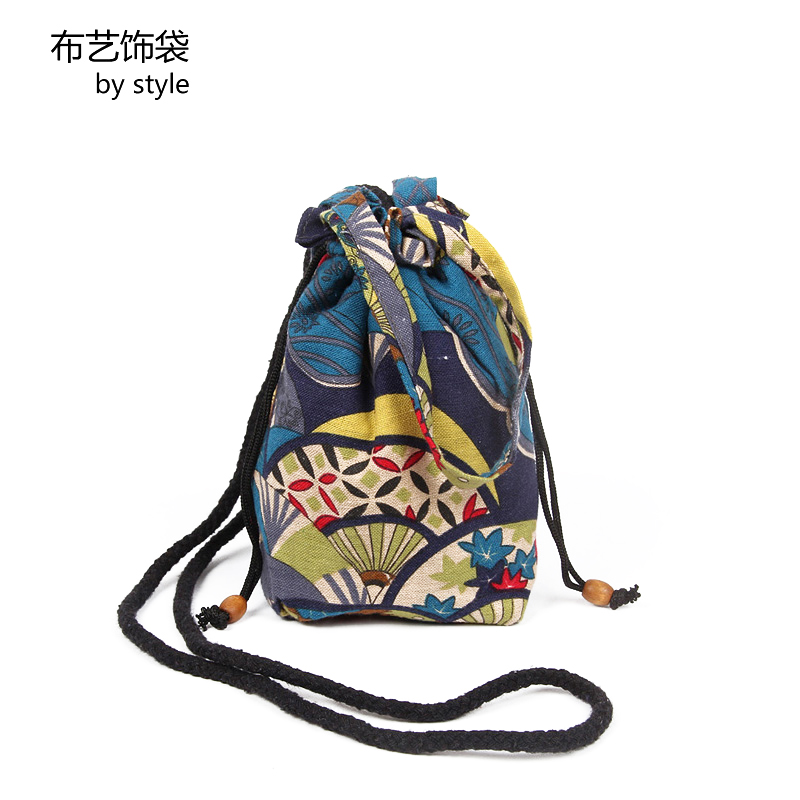 Fabric decoration bag ethnic style Mini Handbag womens single shoulder cross over denim bag cotton linen bucket bag punching drill bag