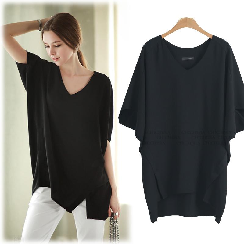 Добавил жира жира мм XL женщин летняя одежда новые свободные batwing пальто t-200 кг случайные дышащий рубашка с коротким рукавом