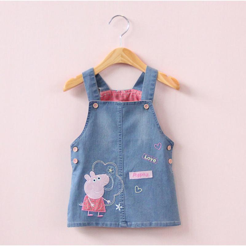 【天天特价】小猪佩奇背带裙2017新款女婴儿童装牛仔裙背心连衣裙