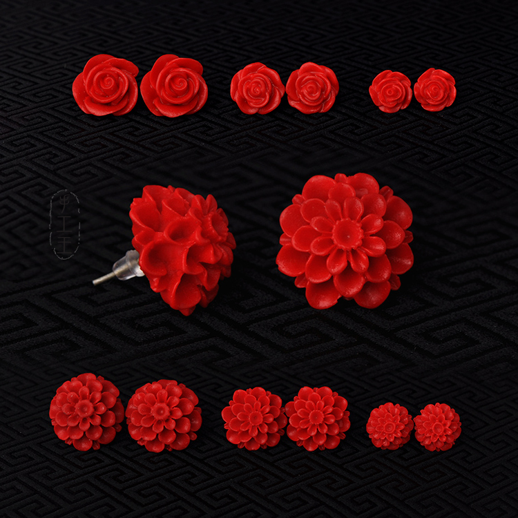 Authentic cinnabar auspicious red rose lacquer carving S925 Sterling Silver womens earrings earrings Bridal Wedding Jewelry