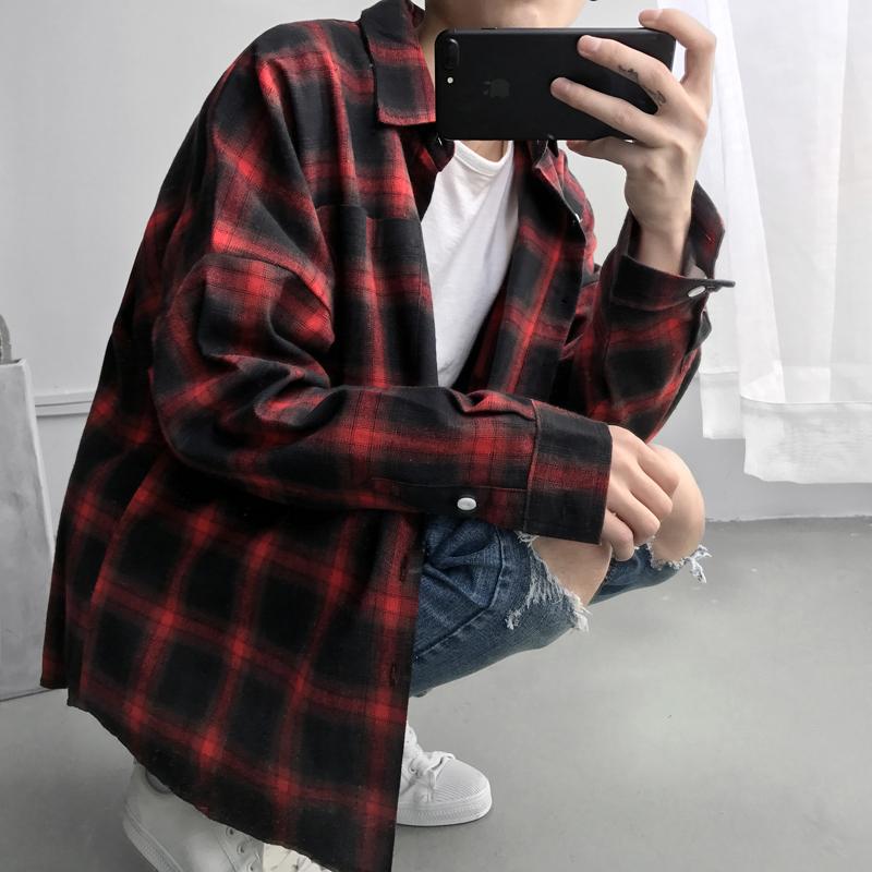 @ порт молодой литература и искусство мужчина весна сетка мужской теплый рубашка с длинными рукавами литература и искусство случайный корейский утолщённый мужчина наряд дюймовый рубашка