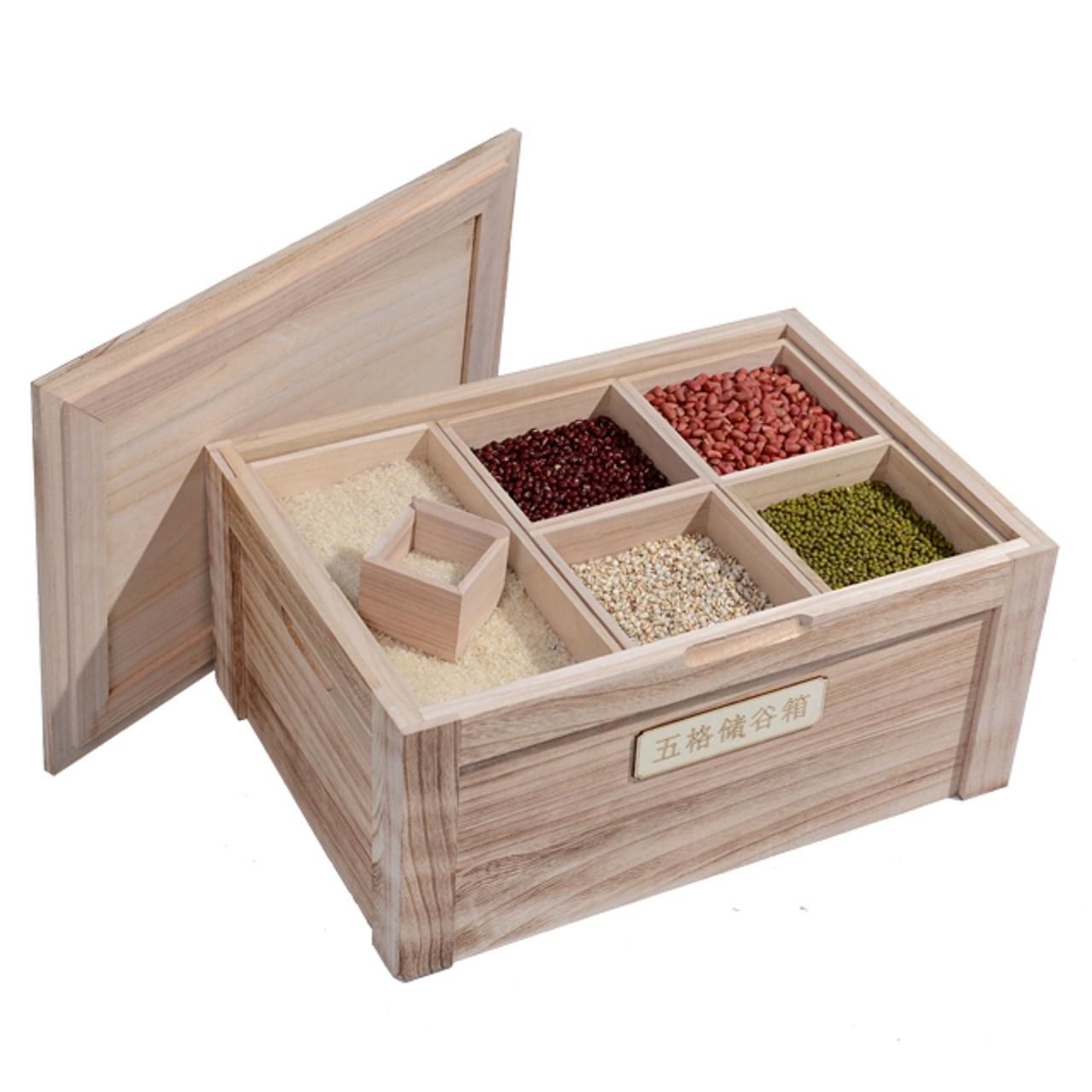 久木林林 全實木密封五格儲糧箱 炭化米箱 米桶 五穀雜糧箱  005