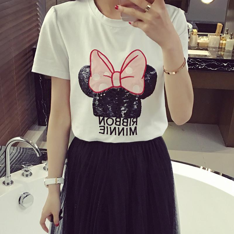 2016新款女装韩版修身米奇印花短袖t恤女卡通体恤女潮上衣打底衫
