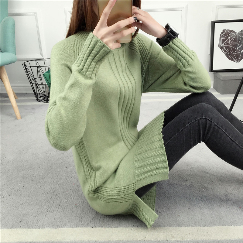 2017 autumn and winter new womens Korean version medium long loose large thickened high neck solid color knitwear bottoming sweater women