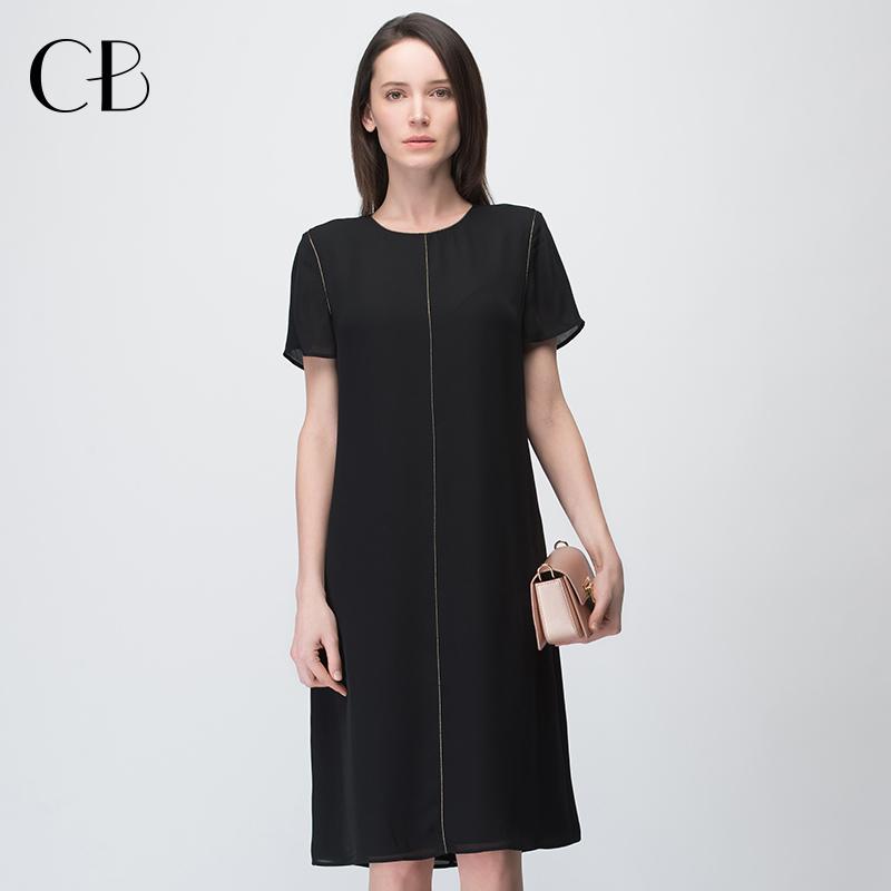 黑色真丝连衣裙女夏天中长款桑蚕丝高端大牌女装宽松大码短袖裙子