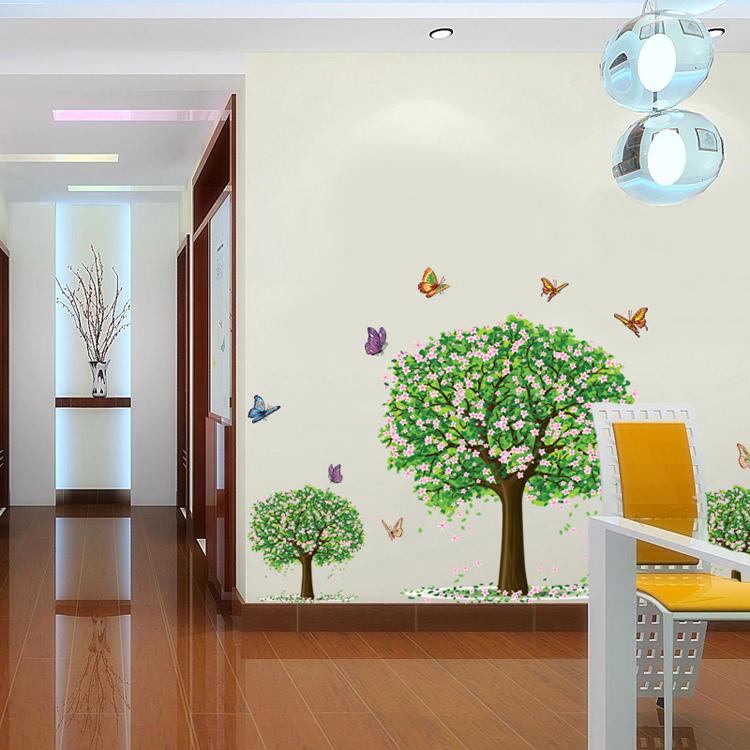 绿树墙贴卧室客厅电视沙发背景墙装饰品壁纸田园自粘大树贴纸贴画