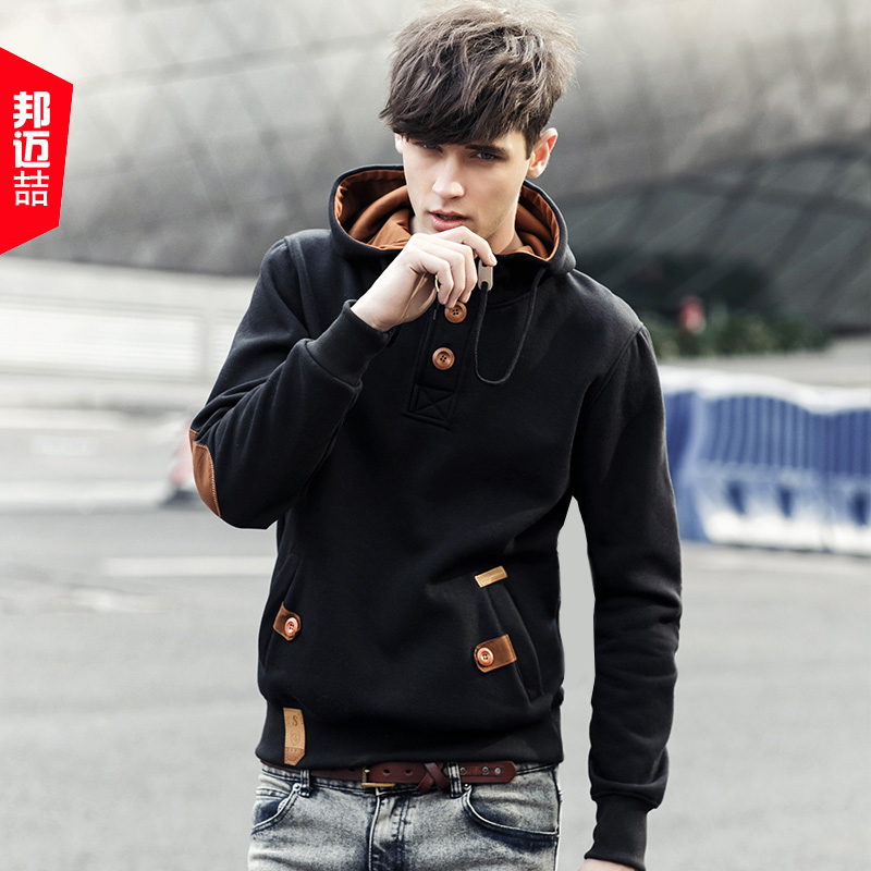 Hooded men's sweater coat in autumn  winter sports  leisure space cotton padded cap unlined upper garment Korean men head youth spring color