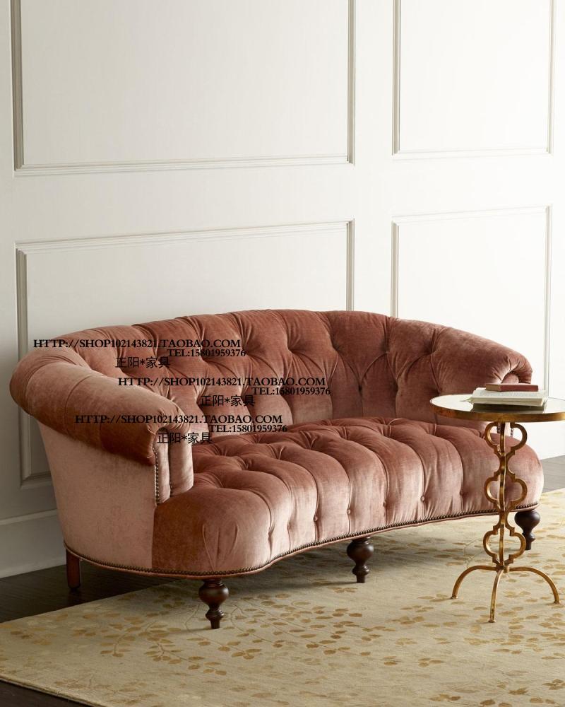 出口欧洲维多利风格进口意大利绒布三人位沙发拉扣试衣间沙发现货