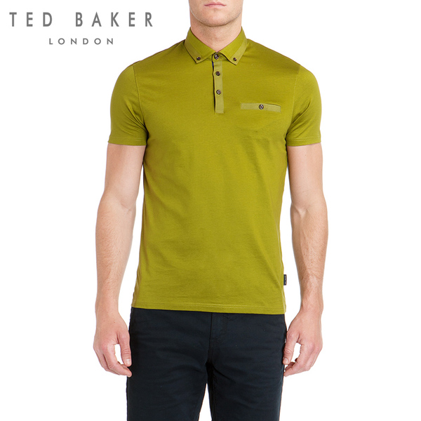 TED BAKER new winter men's fashion casual men's short-sleeved polo shirt solid shelves
