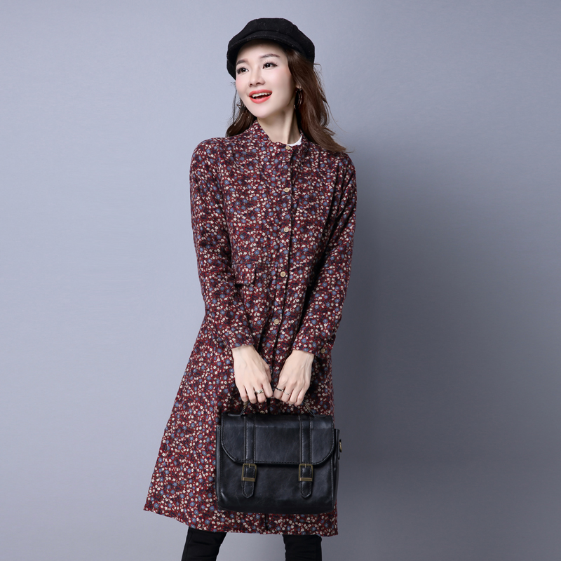 Autumn and winter medium and long style cotton clip shirt art style loose stand collar floral thickening long sleeve shirt winter cotton and hemp coat