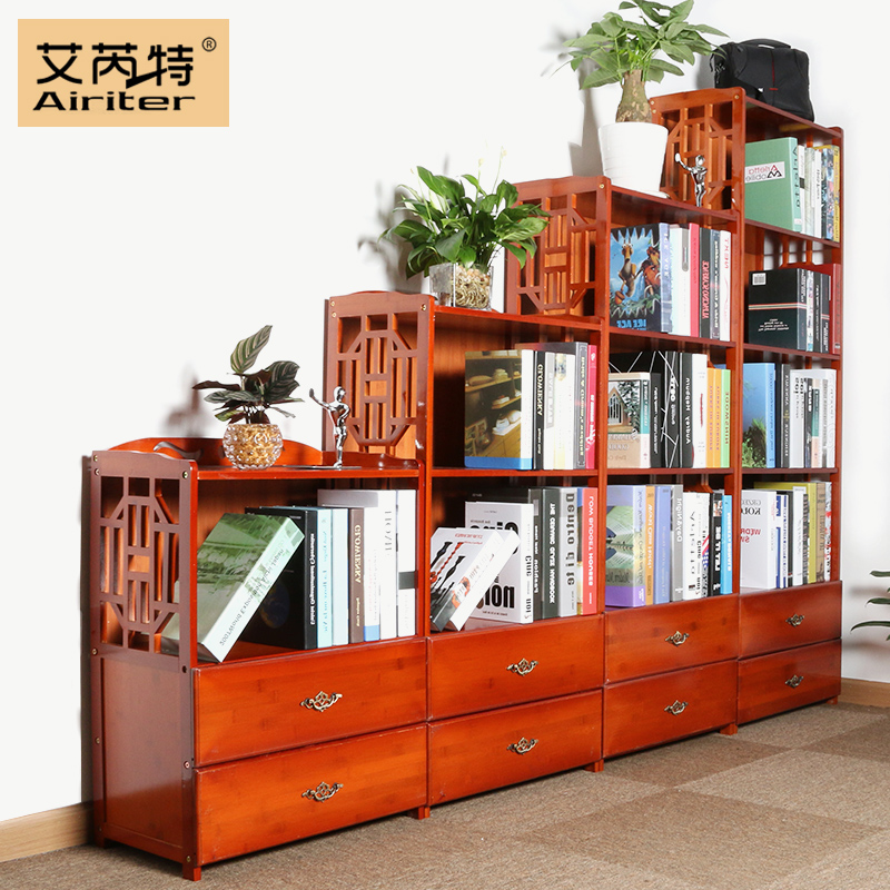 實木5鬥櫃書櫃簡約 簡易複古中式客廳臥室自由 兒童小書架