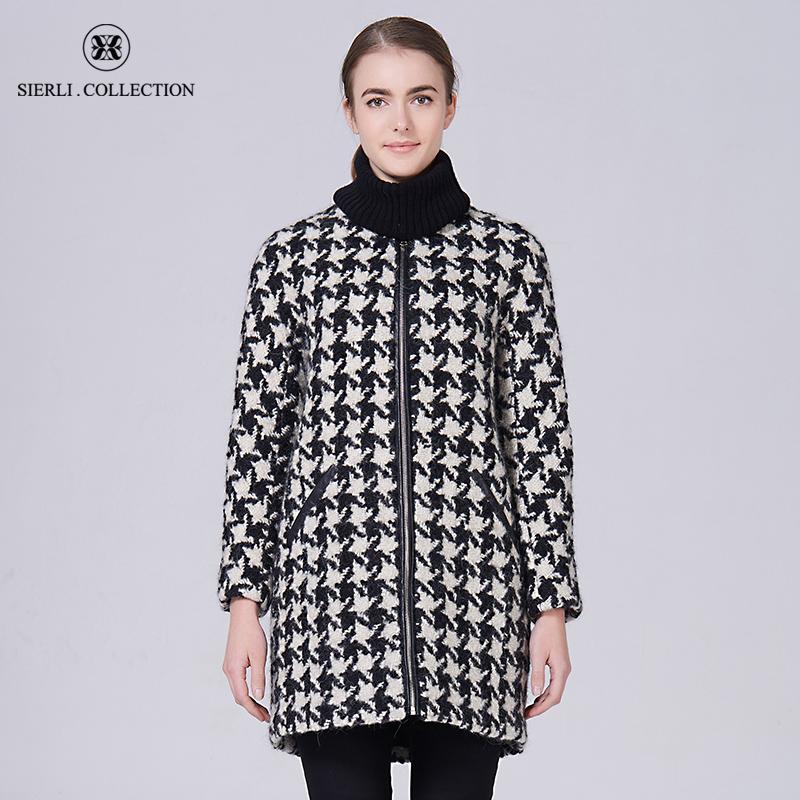 斯尔丽瑟俪正品女冬装黑白相间圆领羊毛中长外套
