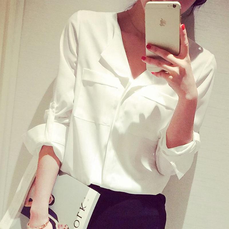 Пружина 2016 новую белую рубашку женского Хань фан базы рубашка длинный рукав шифона рубашку свободные размер белый рубашку