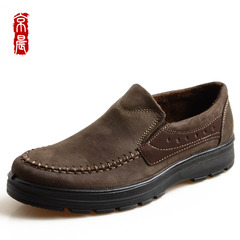 Old Beijing cloth shoes men's Beijing morning two shoes thin and velvet shoes lightweight slip loose comfortable casual shoes