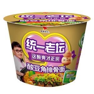 【天猫超市】统一老坛 酸豆角排骨面 115g/桶 这酸爽有点逗方便面