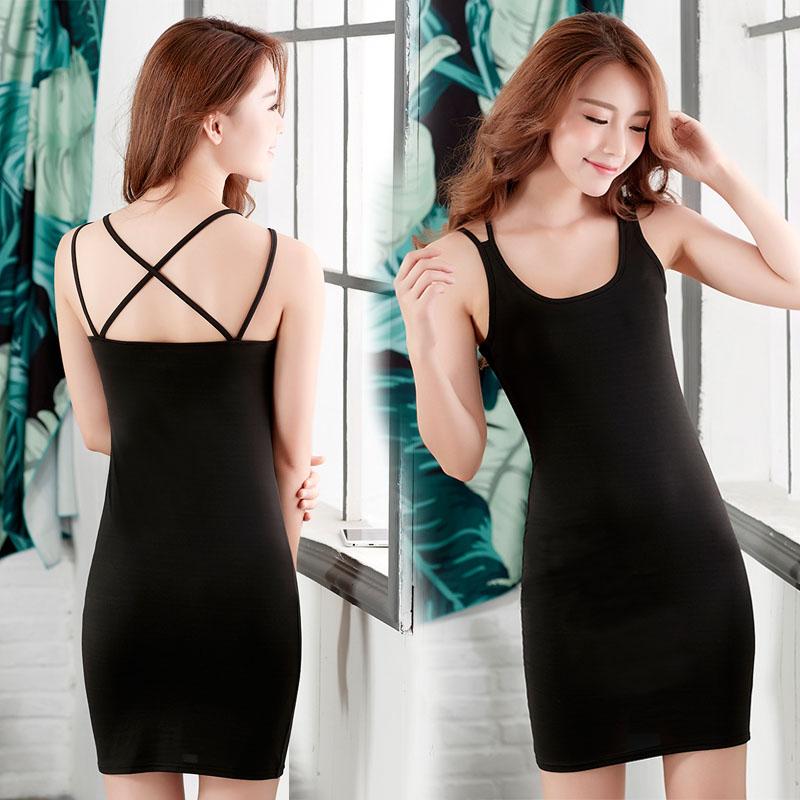 中长款吊带背心裙女内搭衬裙夏季大码修身无袖黑白色吊带裙打底衫