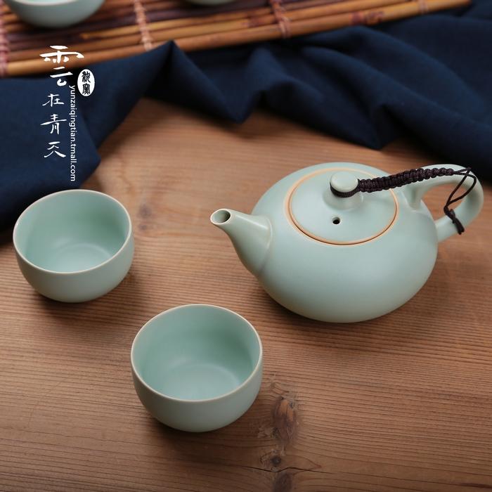汝窯茶具套裝一茶壺兩茶杯整套冰裂釉汝瓷青瓷陶瓷功夫旅行便攜式