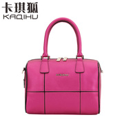 Kaqi Fox fall 2015 Boston bag Plaid bag handbag top grade cowhide Crossbody shoulder bag