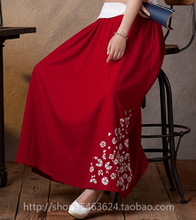 Literary restoring ancient ways is the spring and autumn period and the thickened cotton and linen skirts of the wind national printed long flax bust skirt