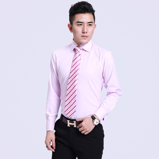 Spring Business French shirt male long sleeved wedding dress and groom groomsman cufflinks shirt shirt Slim pink summer
