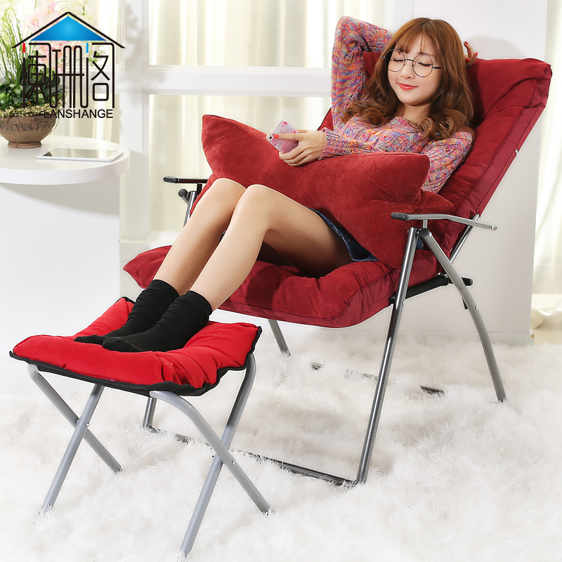 闌珊閣 懶人沙發單人折疊電腦椅子布藝可折疊躺椅辦公折疊靠背椅