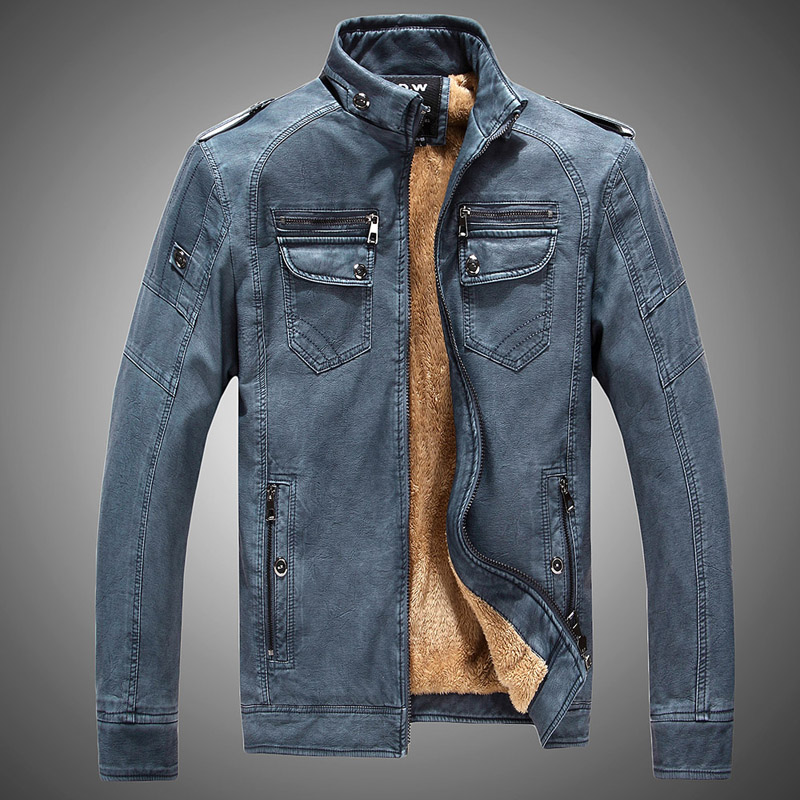 Winter mens Korean, European and American slim fit plush short locomotive leather clothes foreign trade fur one mens locomotive leather jacket