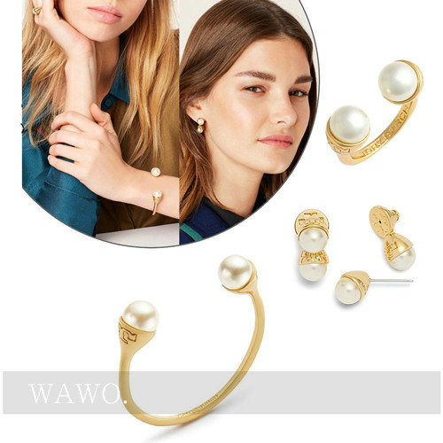 [wawo] European and American original large brand genuine jewelry, refined copper electroplating 16K real gold double headed pearl bracelet ring