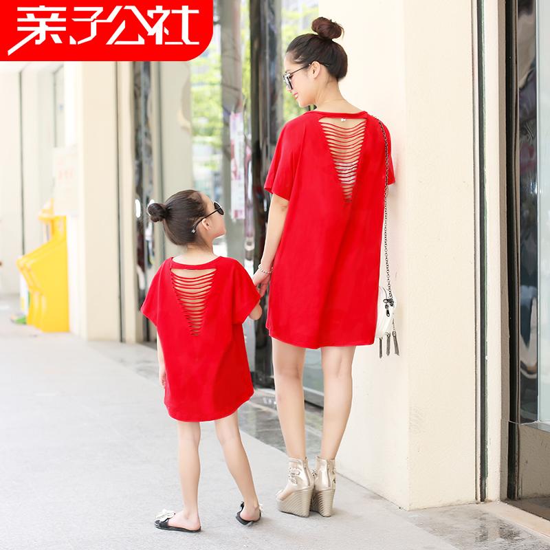 Детской одежды летний костюм 2017 новый мать и дочь даже загружен платье семья семья из троих юбка мать и дитя семья пружинный наряд