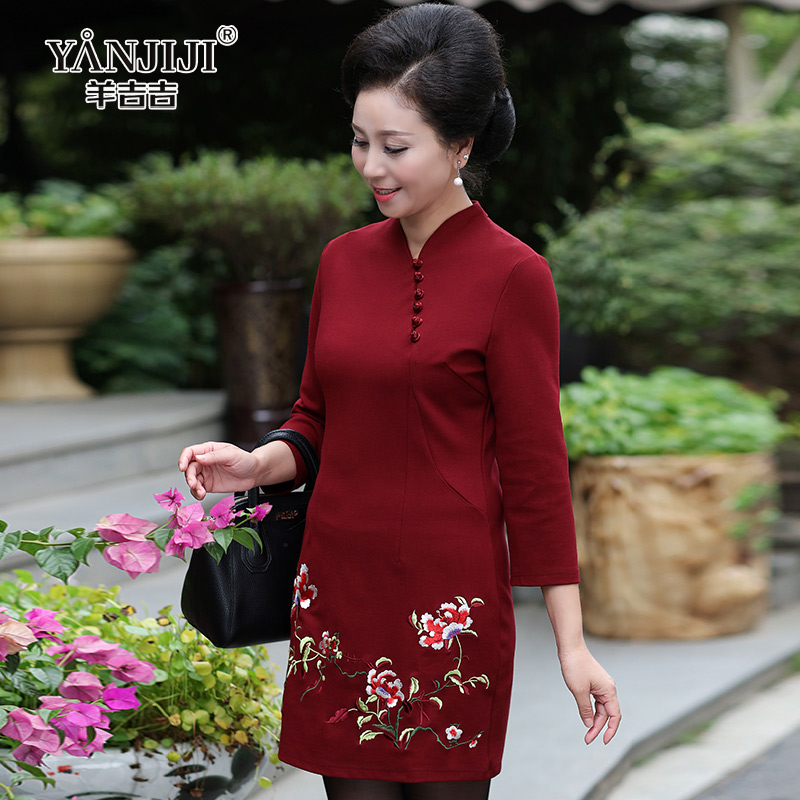 9bde4eb8d70 Middle and old age women s wear autumn dress 40-50 year old ...