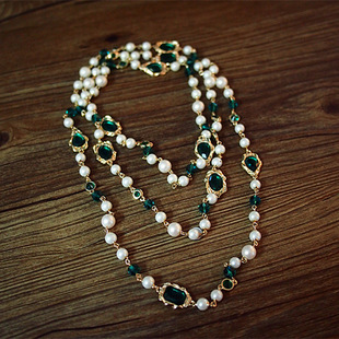 T公館 SVIP回饋 巴洛克復古宮廷百搭多層珍珠長款毛衣鏈水晶項鍊