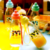Transparent glass cup with lid creative cartoon portable water bottle sports travel trips vehicle readily carry the cup