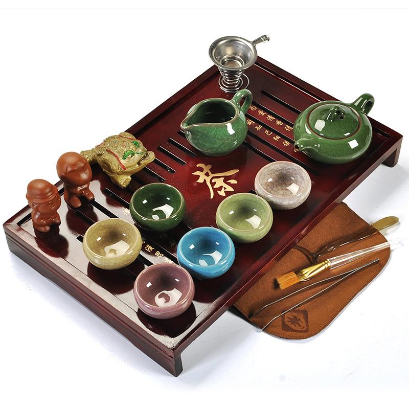 問瓷齋 陶瓷紫砂茶具套裝整套 冰裂功夫茶具實木茶盤茶海