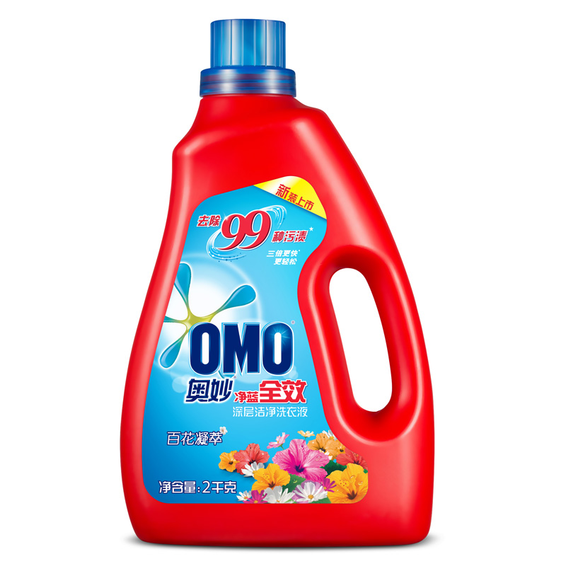 ~天貓超市~OMO 奧妙淨藍全效百花凝萃深層潔淨去漬洗衣液2kg
