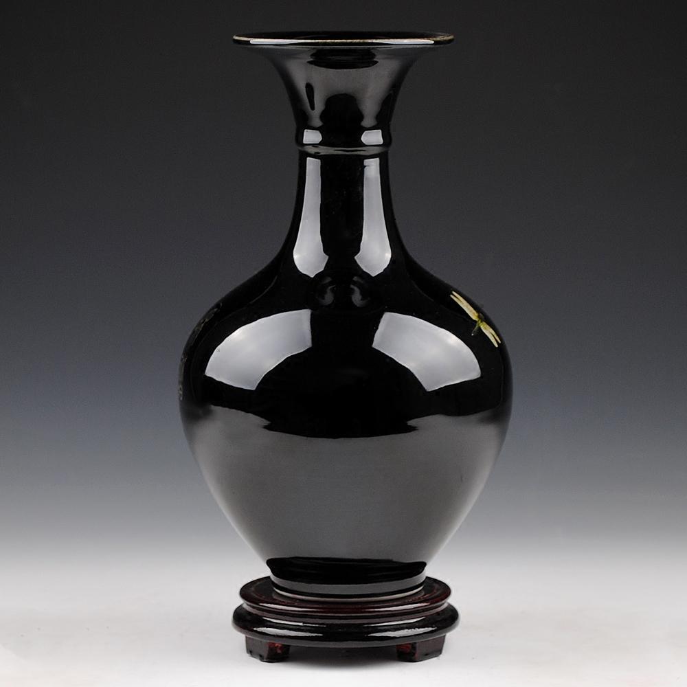 景德镇陶瓷花瓶摆件客厅插花花器乌金釉瓷器现代中式家居装饰品