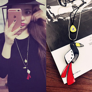 Cool na Korean version of the new Woodpecker sweater chain long necklace chain double fine fashion best matching ornaments 4101